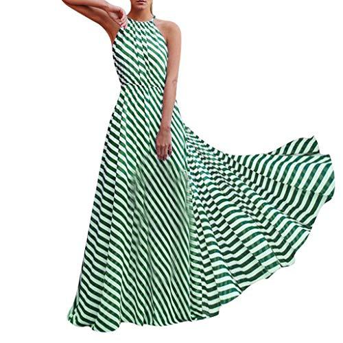 Sunhusing Ladies Sexy Sleeveless Hanging Neck Striped Print Elastic Waist Summer Boho Beach Long Dress Green ()