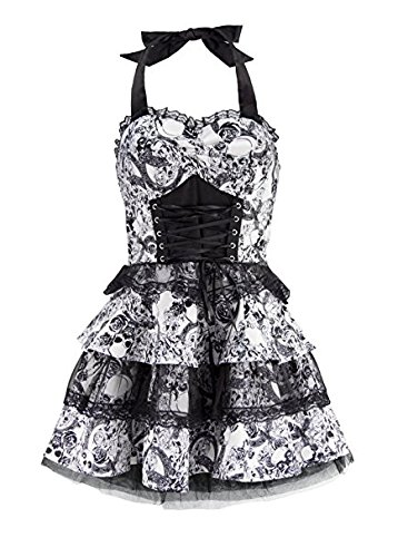 Black and White Skull 50s PinUp Rockabilly Retro Halloween Dress with Black Lace - Size US 12