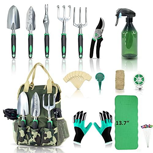 YARTTING Garden Tool Set 29 Piece, Heavy Duty Gardening Tools with Soft Rubberized Non-Slip Handle Tools, Handbag…