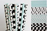 Mustache Little Man Paper Straw Mix - Light Blue, Black, White (25)