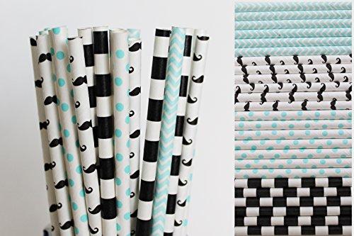 (Mustache Little Man Paper Straw Mix - Light Blue, Black, White, Chevron, Polka Dot, Striped)
