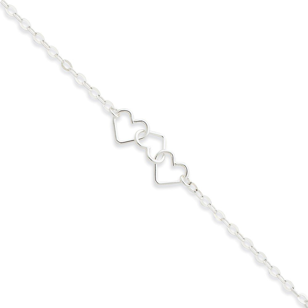 Leg Avenue .925 Sterling Silver 3.00MM Solid Polished Fancy Heart Link Anklet Bracelet Available in 9 /& 10 inches