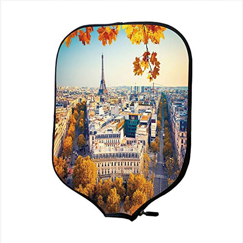 iPrint Neoprene Pickleball Paddle Racket Cover Case,Fall,Aerial View of Eiffel Tower at Sunset Paris France Cityscape Historical Landmark Image,Multicolor,Fit for Most Rackets - Protect Your Paddle