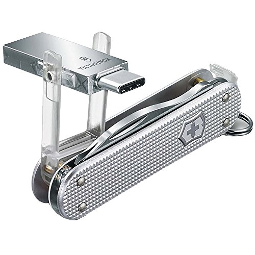 Victorinox 4.6261.26G16B1 Jetsetter @Work USB 3.0 16GB Alox 58mm 6 Functions with a USB for Files at Your Fingertips in Silver 2.3 inches,Small