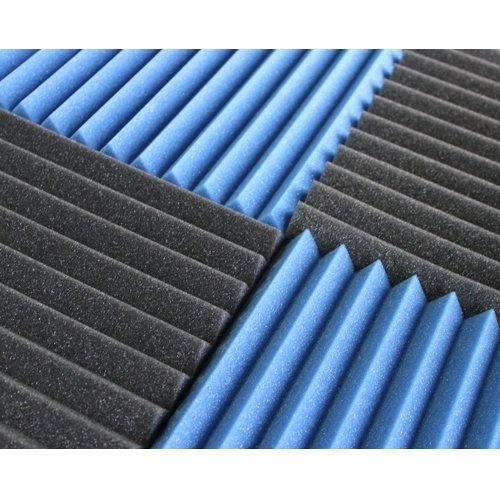 (12 Pk) 1''x12''x12'' BLUE / CHARCOAL Acoustic Panels Soundproofing Foam Acoustic Tiles Studio Foam Sound Wedges (12T)