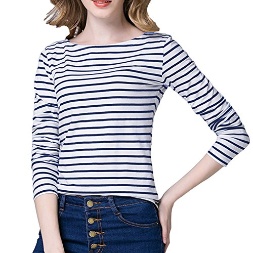Tulucky Women's Casual Long Sleeve Shirts Stripe Tees Round Neck Tank Tops (WhiteDarkblue, M)