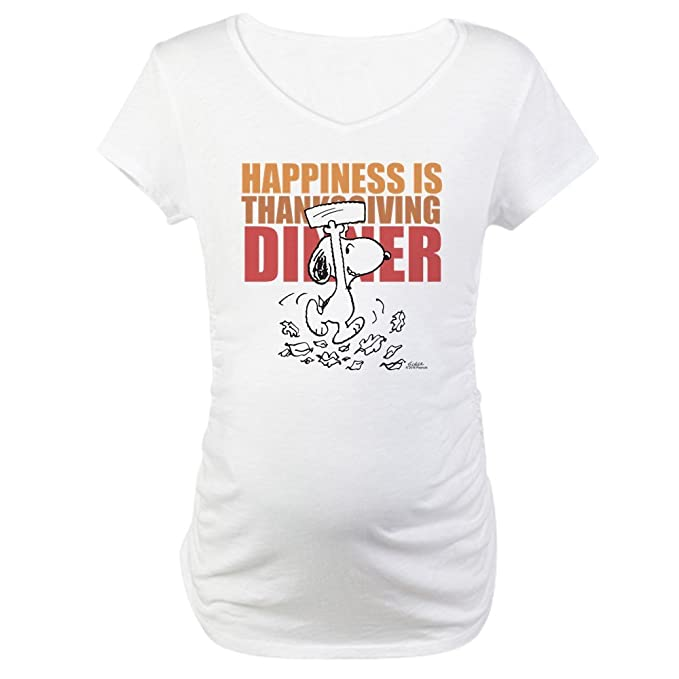 eeb21ece CafePress Peanuts Happiness Thanksgiving D Cotton Maternity T-Shirt ...