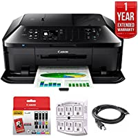 Canon PIXMA MX922 Wireless Inkjet Office All-In-One Printer + 1 Year Extended Warranty with Genuine Canon Ink Bundle Includes PGI-250 BK,CLI-251,4 Inks + Outlet Adapter + Printer Cable