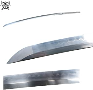 BOHIHYU Hand Forged Katana Sword(Ninja Sword) Blank Blade, 1095 (T10) Carbon Steel/Damascus Folded Steel,Heat Tempered/Clay Tempered, Handmade Grinding, Functional,Full Tang and Sharp Edge