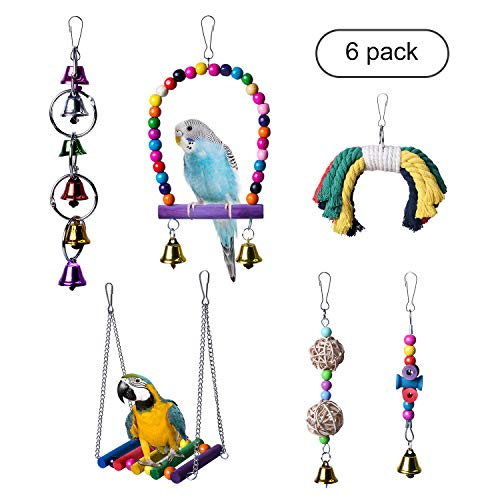 KOLINLOV 6pcs Bird Swing Toys, Parrot Chewing Hanging Bell Toys Bird Cage Hammock Perch Toys for Small Parrots, Parakeets Cockatiels, Conures, Macaws, Parrots, Finches, Love Birds
