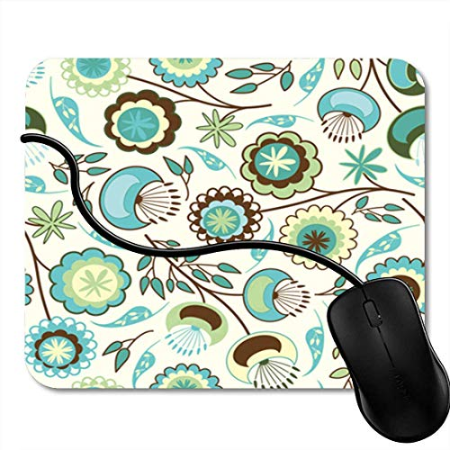 Gaming Mouse Pad Green Animal Cute Pattern Tulips and Birds Black Clip Clipart Office Nonslip Rubber Backing Mousepad Mouse Mat 2F3137