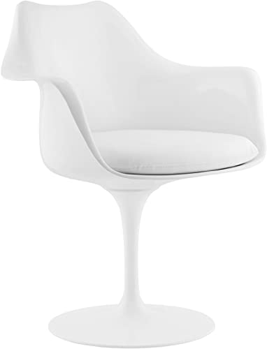 Modway Lippa Mid-Century Modern Faux Leather Cushion, Dining Armchair, White