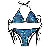 ART TANG Sexy Swimwear Gift For Women Teen Girls - Watercolor Blue Sea Turtle Bikini Swimsuit