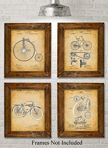Original Bicycle Patent Art Prints - Set of Four Photos (8x10) Unframed - Great Gift for Bicyclists -