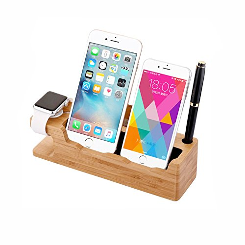 FILIWI Apple Watch Stand, iWatch Bamboo Charge Station Wood Charging Dock Stock Cradle Holder for Apple Watch Both 38mm and 42mm & iPhone 6 6 plus 5S 5 SE for iPhone 7/8 iPhone X by FILIWI