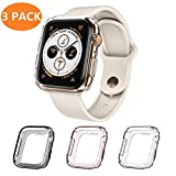 Monoy Case for Apple Watch Series 4 Case 44mm, [3 - Pack Colorful] Soft TPU Protective Cover Bumper for iWatch Series 4 44mm (Clear+Grey+Rose Gold)