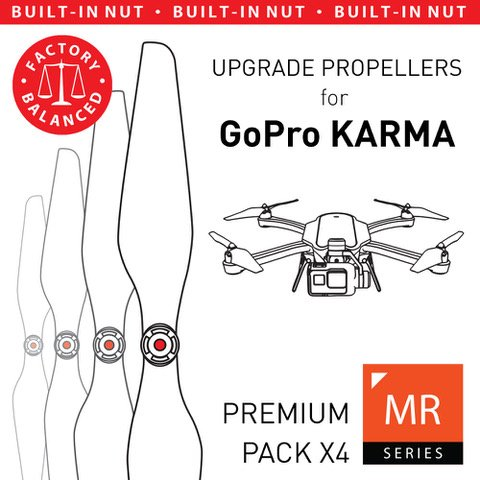 MAS Upgrade Propellers for GoPro Karma with Built-in Nut in White - x4 in Set