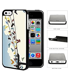 Colorful Birds on Sky Wire Line Hard Snap on Phone Case Cover iPhone 5c wangjiang maoyi