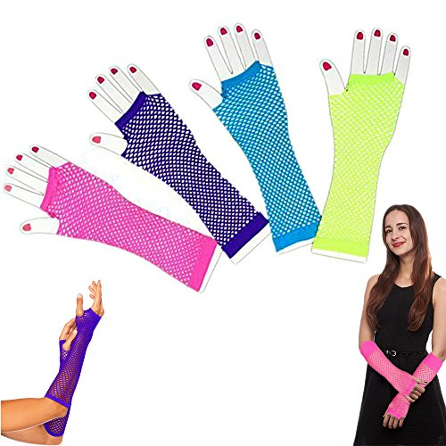 Dazzling Toys Assorted Fingerless Diva Fishnet Wrist Gloves - Long (12 Pack)]()