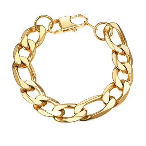 PROSTEEL 18K Gold Plated Figaro Link Chain Bracelet 13mm 7.5'' Big Chunky Bracelet Men Hip Hop Jewelry