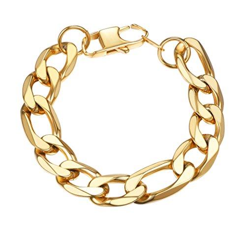 Link Bracelet Chunky (PROSTEEL Figaro Link Chain Big Chunky Bracelet Italian 18K Gold Plated 13mm 8.3'' Men Hip Hop Jewelry)