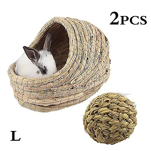 (kathson Woven Pet hay Bed for Hamsters, Guinea-Pigs, Rabbits and Cats (1ball+Bed))