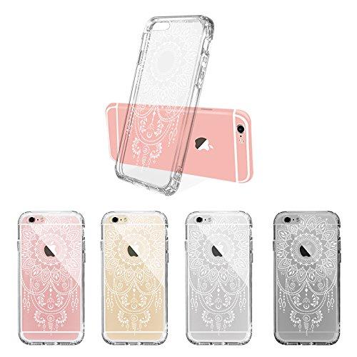 Coque iPhone 6s, Coque iPhone 6, MOSNOVO Blanc Henné Mandala Fleur Coque iPhone 6 6s Transparente Rigide Motif Arrière avec TPU Bumper Coque de Protection Pour iPhone 6 6s (4.7 Pouce) (Mandala Henna T