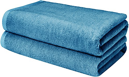 AmazonBasics Quick-Dry Bathroom Towels, Bath Sheet, Lake Blue (Bath Long Towels Extra)