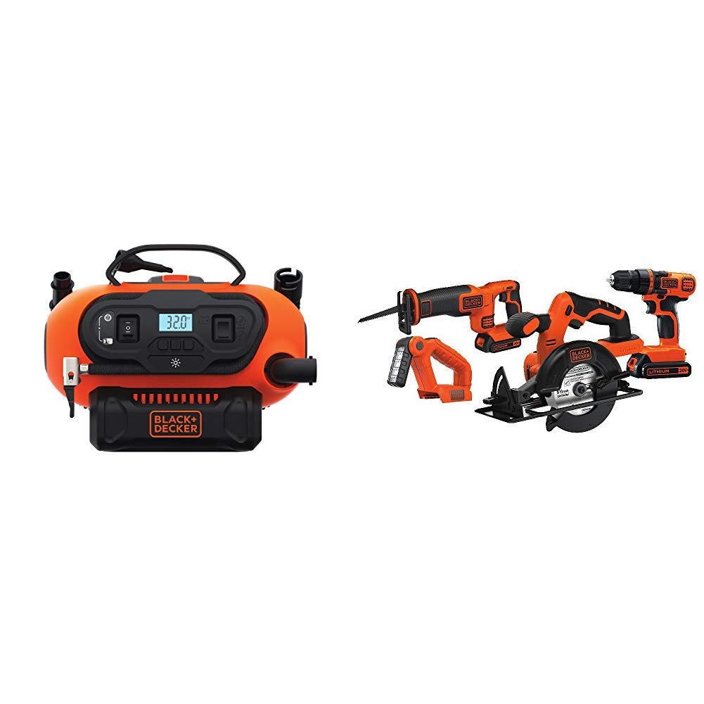 BLACK+DECKER BDINF20C 20V Lithium Cordless Multi-Purpose Inflator (Tool Only) with Black & Decker BD4KITCDCRL 20V MAX Drill/Driver Circular and Reciprocating Saw Worklight Combo Kit