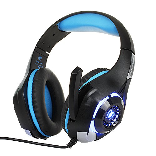 BEEXCELLENT 3.5mm Gaming Headset with Microphone, LED Light and Audio Splitter Cable (Black-Blue)