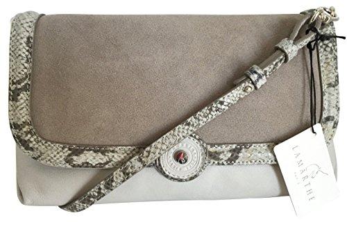 - LAMARTHE Ladies Bag Etosha Genuine Leather Clutch Bag Grey Suede Leather with Reptile Print Trim Cross-body Bag Pouch Grey 25 x 14 x 6 cm