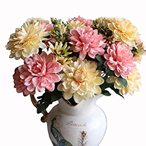 Htmeing 10 Heads Artificial Mum Dahlia Flowers Marigold Bouquet for Office Home Ceremony Decor, Pack of 2 (White Pink) 62