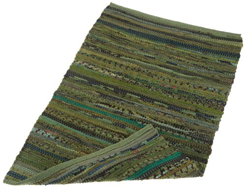 "DII Contemporary Reversible Indoor Area Rag Rug, Machine Washable, Handmade from Recycled Fabrics, Unique For Bedroom, Living Room, Kitchen, Nursery and more, 20 x 31.5"" - Olive Green"