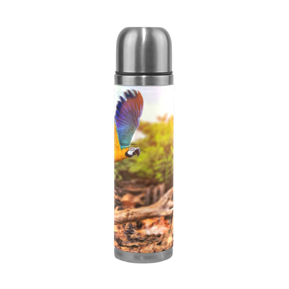 Sunlight Forest Birds Animals Nature Parrot 500ML Stainless Steel Double Walled vacuum insulated water bottle Travel Mug Leather Cover Thermos 17 oz