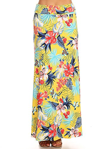 Casual High Waisted Solid/Printed Long Maxi Skirt/Made in USA Floral Yellow 3XL ()