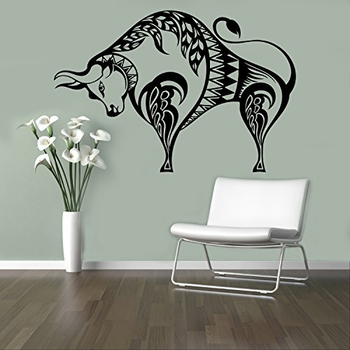 Taurus Horoscope Wall Decal Bull Buffalo Vinyl Sticker Home Decor Ideas Wall Art Interior Removable Design 25(bfb)