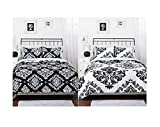 Black White Damask Reversible Girls Teens Twin Comforter Set