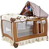 Costzon Baby Playard, Convertible Playpen with Bassinet, Changing Table, Foldable Infant Crib Travel Bassinet Bed with Music Box, Cute Toys, wheels & Brake, Travel Ready with Oxford Carry Bag (Brown)