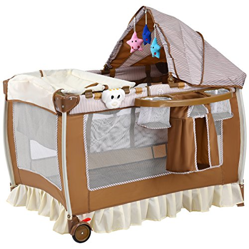 Steel Bassinet Infant (Costzon Baby Playard, Convertible Playpen with Bassinet, Changing Table, Foldable Infant Crib Travel Bassinet Bed with Music Box, Cute Toys, Wheels & Brake, Travel Ready with Oxford Carry Bag (Brown))