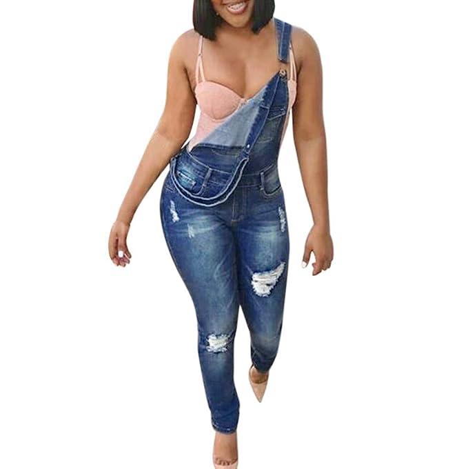 NPRADLA Vaqueros Jeans Tendencia Jeans Mujer Correa Agujero Plus Mono Mamelucos Moda Casual Azul M: Amazon.es: Ropa y accesorios