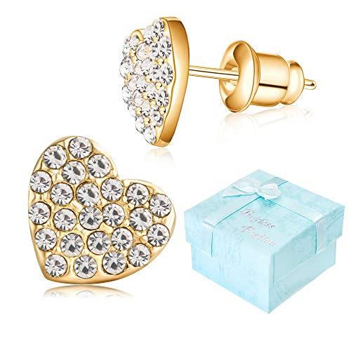 Buyless Fashion Girls Heart Stud Earrings With Push Backs Rhodium Plated