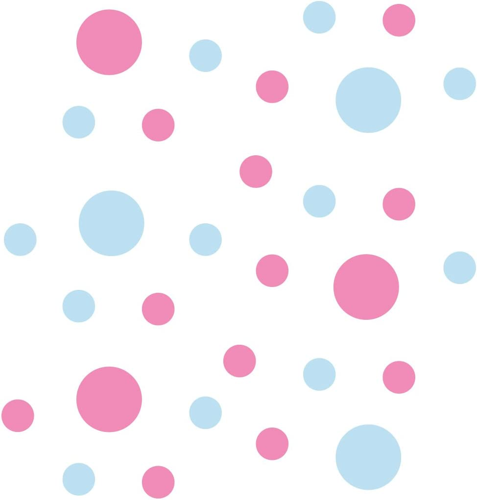 Baby Blue//Pink Vinyl Wall Stickers 2 /& 4 Circles 30 Decals