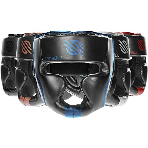 Head Guard - Sanabul Essential Professional Boxing MMA Kickboxing Head Gear (Blue, L/XL)