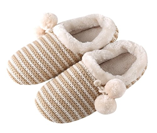 Cattior Mujeres Stripes Fur Alineado De Punto Slippers Damas Zapatillas De Color Crema