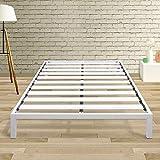 Best Price Mattress Full Bed Frame - 14 Inch Metal Platform Beds [Model C] w/ Steel Slat Support (No Box Spring Needed), White