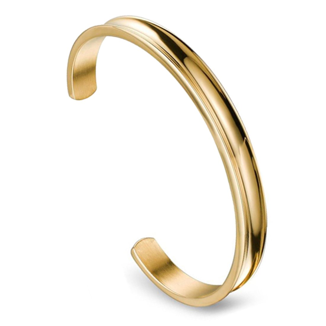 ZUOBAO 6mm Stainless Steel Hair Tie Bracelet Grooved Cuff Bangle for Women Girls (Gold) Zuo Bao CA-SHZ0