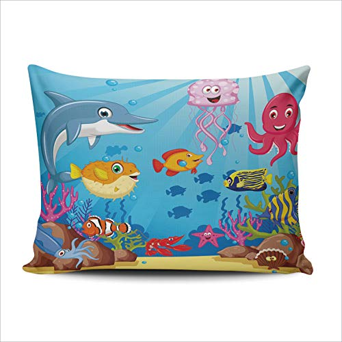 DOUMIFA Cute Cartoon Marine Life Dolphins and Octopus Puffer Fish 20x30 Queen Throw Pillow Case Decor Cushion Covers One Sided Printed