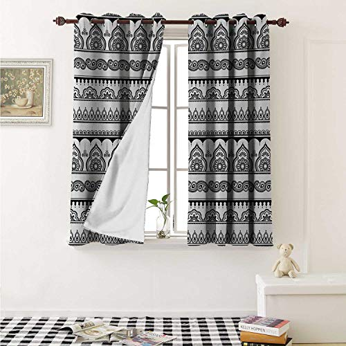 shenglv Henna Room Darkening Wide Curtains Eastern Tattoo Design with Various Ornamental and Geometric Shapes Monochrome Style Window Curtain Drape W108 x L72 Inch Black White