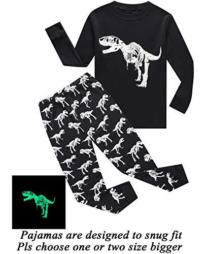 Boys Pajamas Dinosaur-Glow-in-The-Dark Toddler Clothes Kids Pjs Sleepwear Shirts Size 5