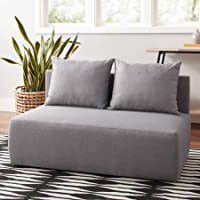 Accent Chair Modular Double Upholstered Lounge Chair Includes 2 Loose Back Pillows - Gray